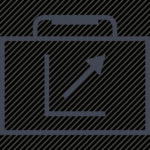 arrow, briefcase, case, good, graph, report, up icon