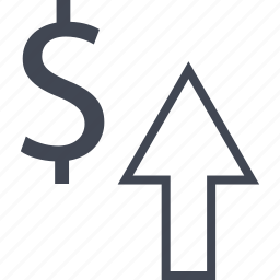 arrow, dollar, interest, rate, revenue, sign, up icon