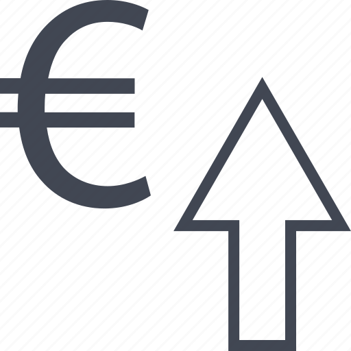 arrow, euro, interest, rate, revenue, sign, up icon