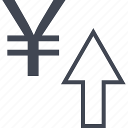 approved, arrow, good, money, ok, up, yen icon