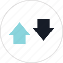 arrow, down, info, up icon