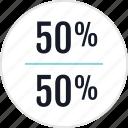 fifty, half, info, percentage icon