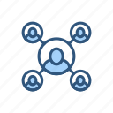avatar, connection, friend, group, network, people, user icon