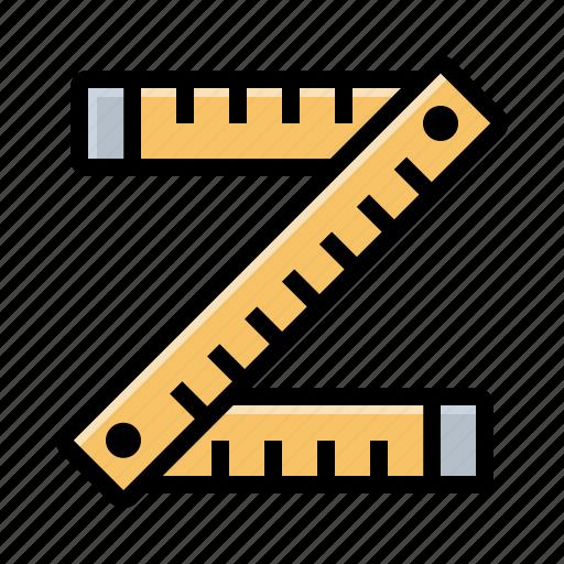 folding ruler, ruler, tape measure, tools icon