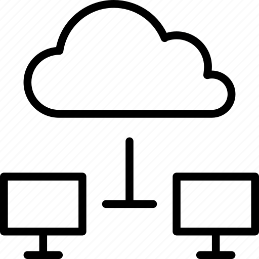 cloud, computers, connected, online, screens, server icon