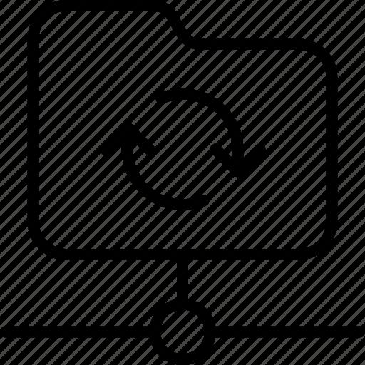 data, folder, network, online, synchronizing icon