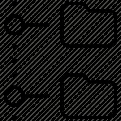 folder, network, offline, organization, tree icon