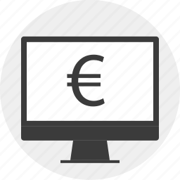 computer, euro, money, monitor, sign icon