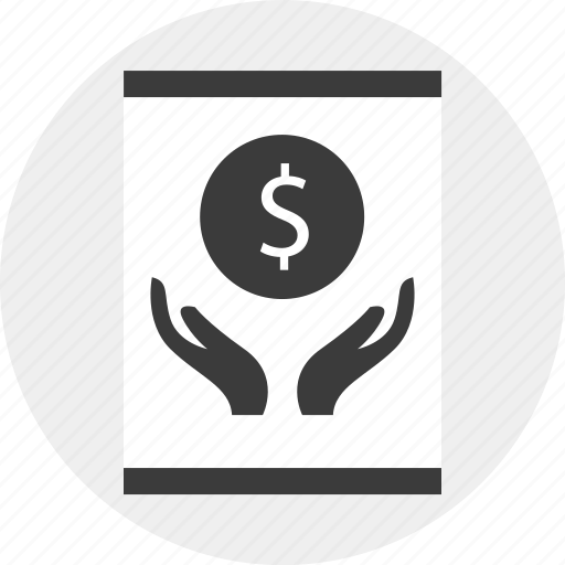 growing, hands, holding, money, online icon