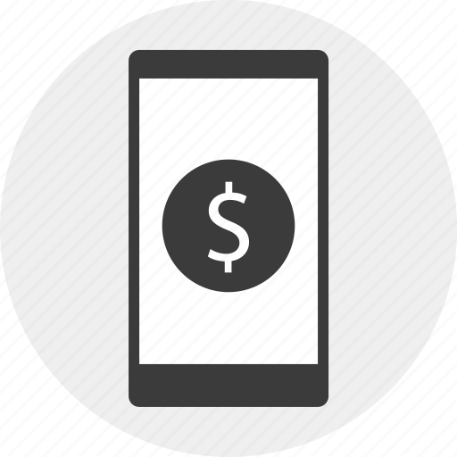circle, dollar, mobile, sign icon