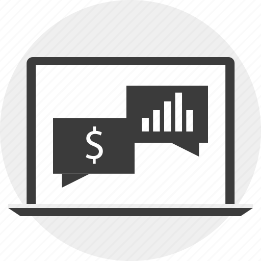 computer, conversation, laptop, money, online icon