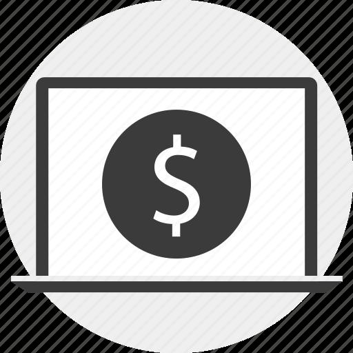 circle, dollar, in, laptop, money, sign icon