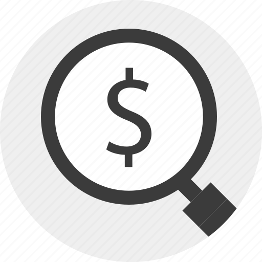 dollar, find, look, magnifier, money, sign icon
