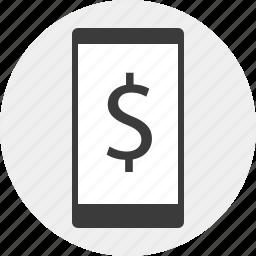 dollar, mobile, money, sign icon