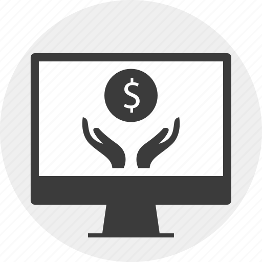dollar, hands, money, monitor, sign icon