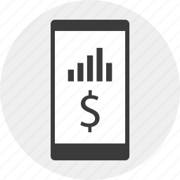 data, dollar, mobile, money, results icon