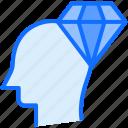 head, brain, diamond, mind