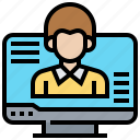 computer, conference, consultant, contact, learning icon