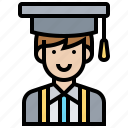 avatar, education, graduation, man, student icon