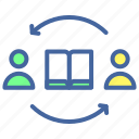 arrow, book, feedback, peope, user icon