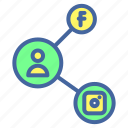 facebook, instagram, network, share, social icon