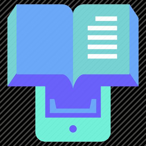 digital, ebook, education, read, smartphone icon