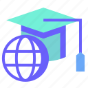 cap, education, graduation, hat, online icon