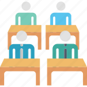 class, desks, education, group, learning, students, study icon