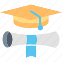 certificate, degrees, diploma, education, hat, learning, master icon