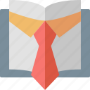 book, education, knowledge, learning, professional, publications, tie icon