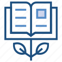 book, education, expand, growth, knowledge, plant, study icon