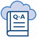 book, cloud, education, online education, question answer book, school, study icon