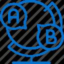 class, globe, language, learning, speaking, speech, translating icon