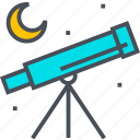 astronomical, education, teaching, telescope icon
