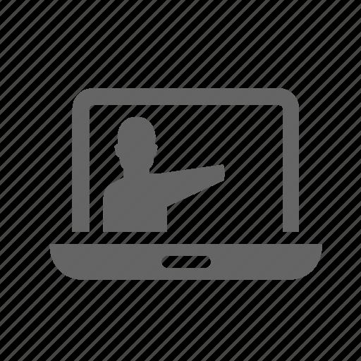 course, internet, lecture, online, person, teacher, video icon