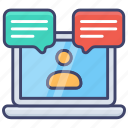 support, webinar, call, conference, laptop, video, training icon