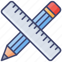 drafting, pencil, measuring, ruler, architect, scale, tools icon