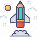 pencil, advantage, rocket, competitive, business, competition, success icon