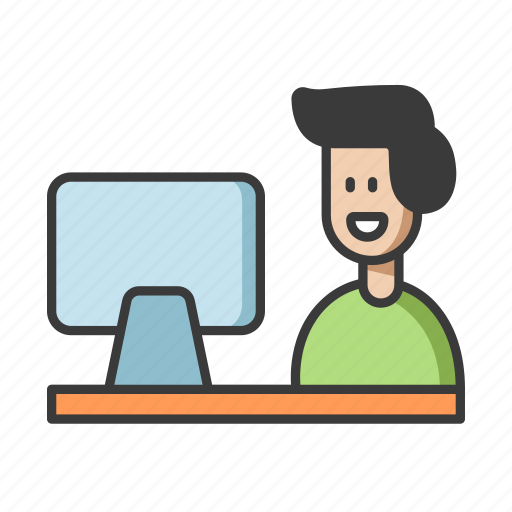 computer, education, learning, online, student icon