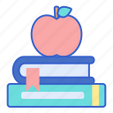 apple, books, school