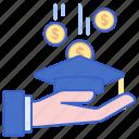crowdfunding, money, scholarship icon