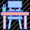 desk, student, study icon