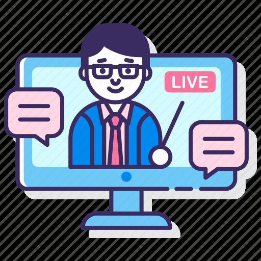 education, live, webinar icon
