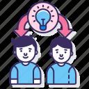 education, ideas, sharing icon