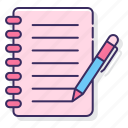 education, notes, student icon