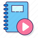 education, lesson, video icon