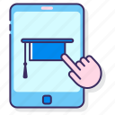 education, learning, virtual icon