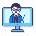education, learning, webinar icon