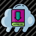 cloud, data, file, download