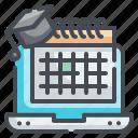 schedule, calendar, event, online, date